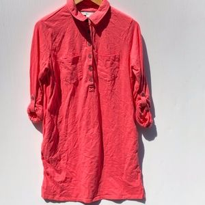 Boden Long Sleeve Coral Polo Dress 8 Petite